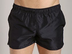 Tulio Nylon Stripe Surf Trunk Black