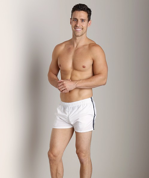 Tulio Nylon Stripe Surf Trunk White