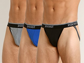 2xist Stretch Jockstrap 3-Pack Black/Black/Royal
