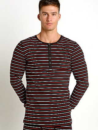 2xist Essential Long Sleeve Henley Stripe Black