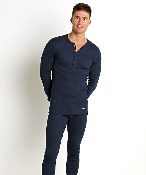 2xist Sport Tech Long Sleeve Henley Varsity Navy