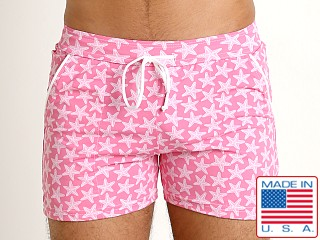 LASC Premium Beach Trunk Swim Shorts Pink Starfish