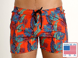 LASC Premium Beach Trunk Swim Shorts Red Polynesia