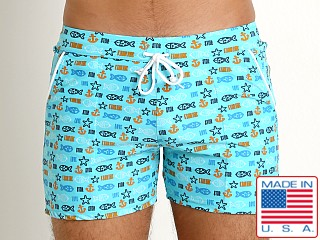 LASC Premium Beach Trunk Swim Shorts Turquoise Sea