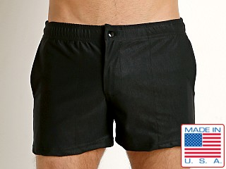LASC Solid Nylon Malibu Swim Trunk Black