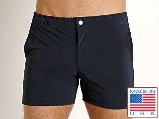 LASC Solid Nylon Malibu Swim Trunk Navy