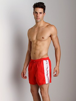 Emporio Armani Binding Silver Swim Shorts Red