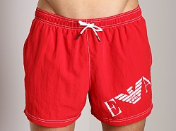 Emporio Armani Big Logo Swim Shorts Red