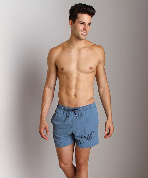Emporio Armani Big Logo Swim Shorts Smokey Blue