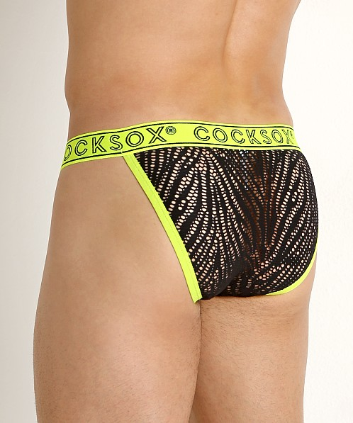 Cocksox Enhancer Pouch Shredded Bikini Briefs Atomic Green