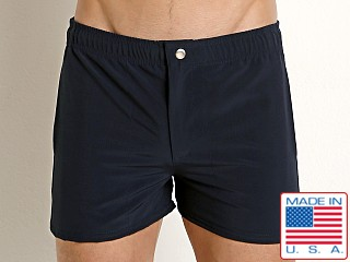 Model in navy LASC Malibu Swim Shorts