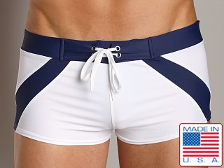 Go Softwear Riviera Square Cut Swim Trunk White/Navy