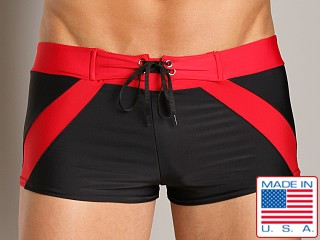 Go Softwear Riviera Square Cut Swim Trunk Black/Red