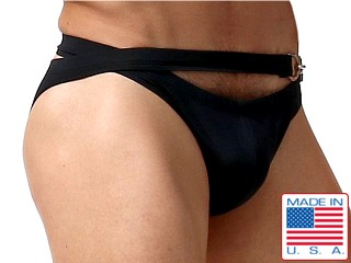 Model in black Rufskin Boxol Dual-Waisted Calkini Swim Briefs