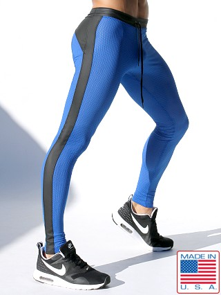 Model in royal Rufskin Super Ricky Mesh/Rubber Compression Leggings