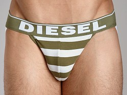 Diesel Fresh & Bright Striped Jocky Jockstrap Green/White