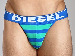 Diesel Fresh & Bright Striped Jocky Jockstrap Green/Blue