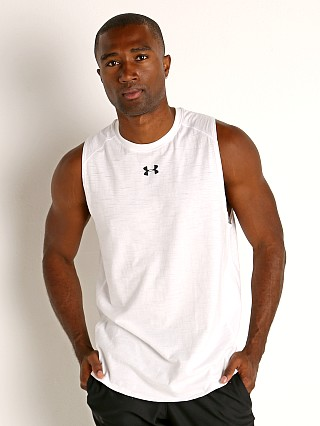Model in white/black Under Armour Charged Cotton Tank Top