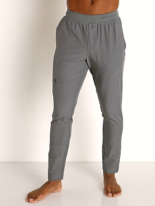Model in pitch gray/black Under Armour Flex Woven Tapered Pants