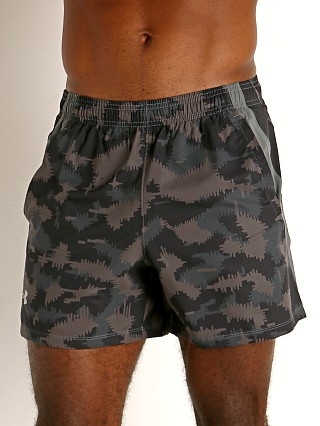 "Model in black/grey camouflage Under Armour Launch 5"" Running Short Black/Grey Camo"