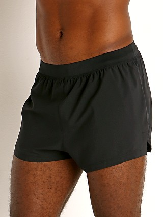 Model in black/reflective Under Armour Launch Split Running Short