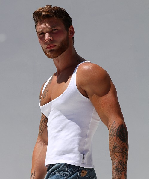 Rufskin Davis Stretch Cotton Tank Top White