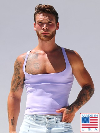 Model in lavender Rufskin Davis Stretch Cotton Tank Top