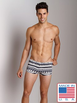 Sauvage Tribal Square Cut Swim Trunk Grey Tribal