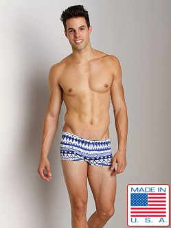 Sauvage Tribal Square Cut Swim Trunk Blue Tribal
