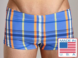Sauvage Plaid Square Cut Swim Trunk Azure
