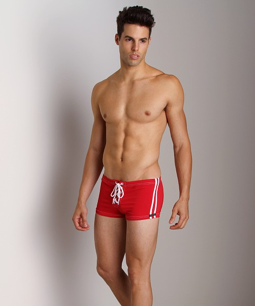 Sauvage Football Lace-Up Swim Short Red/White