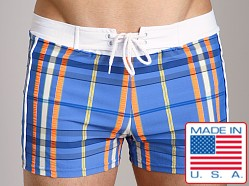 Sauvage Como Italian Plaid Swim Trunk Azure