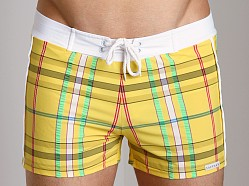 Sauvage Como Italian Plaid Swim Trunk Yellow