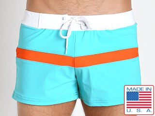 Sauvage Sporty Style Swim Trunks Jade/Orange