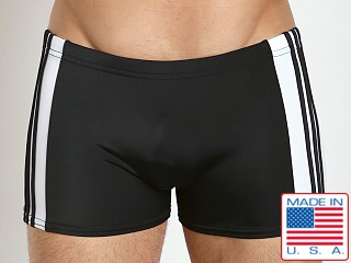 Sauvage Freestyle Nylon Lycra Swim Trunk Black/White
