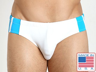 Sauvage Freestyle Nylon Lycra Racing Brief White/Turquoise