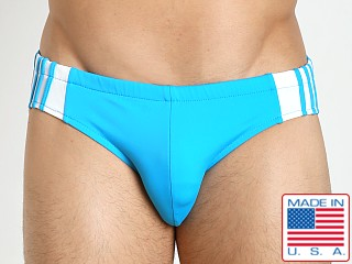 1f3a93476ad2f Sauvage Freestyle Nylon Lycra Racing Brief Turquoise/White