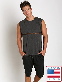 Sauvage Active Bamboo Cotton Front Mesh Muscle Shirt Charcoal