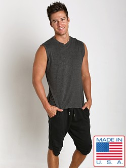 Sauvage Active Bamboo Cotton Side Mesh Muscle Shirt Charcoal