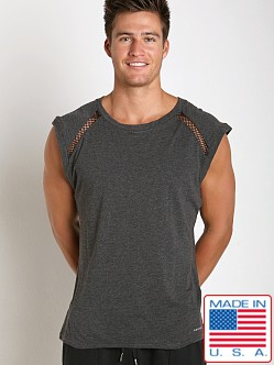Sauvage Active Bamboo Cotton Shoulder Mesh Muscle Shirt Charcoal