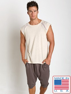 Sauvage Active Bamboo Cotton Shoulder Mesh Muscle Shirt Cream