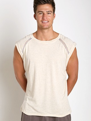 Complete the look: Sauvage Active Bamboo Cotton Shoulder Mesh Muscle Shirt Cream