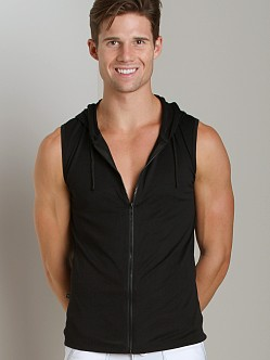 Tulio Ultra Light Zipper Muscle Hoodie Black