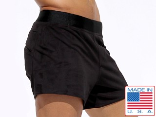 Model in black Rufskin Vast Ultra Suede Sport Shorts