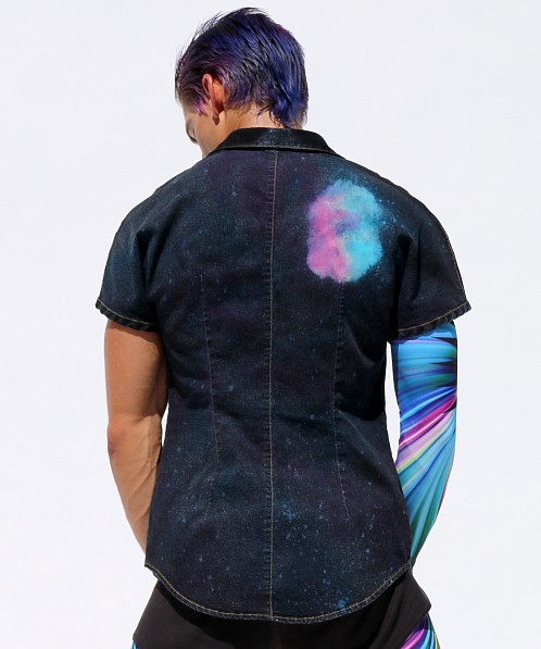 Rufskin Galaxy Stretch Denim Kimono Shirt Milky Way