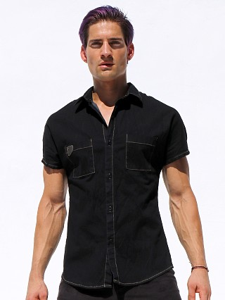 Complete the look: Rufskin Stud Stretch Denim Kimono Shirt Black