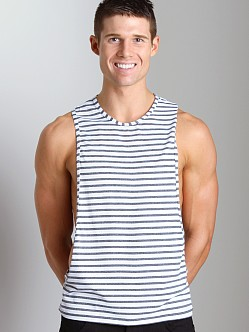 Tulio Stripe Open Side Muscle Shirt White