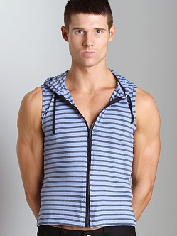 Tulio Striped Zipper Hoodie Blue