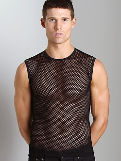 Tulio Open Mesh Muscle Shirt Black