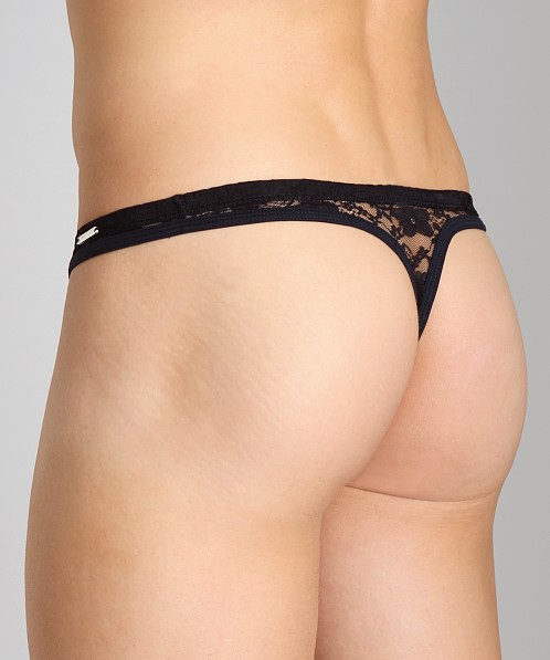 Tulio Lace Power Pouch Thong Black
